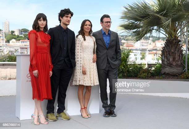 Actors Berenice Bejo Louis Garrel Stacy Martin and director Michel Hazanavicius attend the 'Redoutable ' photocall during the 70th annual Cannes Film...