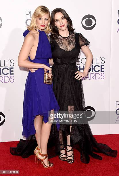 Actors Beth Behrs and Kat Dennings attend The 41st Annual People's Choice Awards at Nokia Theatre LA Live on January 7 2015 in Los Angeles California