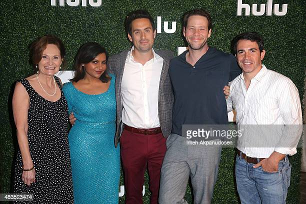 Actors Beth Grant Mindy Kaling Ed Weeks Ike Barinholtz and Chris Messina attend the Hulu 2015 Summer TCA Presentation at The Beverly Hilton Hotel on...
