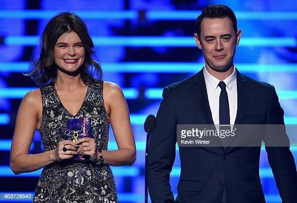 Actors Betsy Brandt and Colin Hanks speak onstage during the People's Choice Awards 2016 at Microsoft Theater on January 6 2016 in Los Angeles...