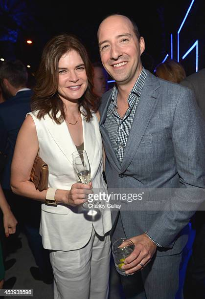 Actors Betsy Brandt and Tony Hale attend Audi's Celebration of Emmys Week 2014 at Cecconi's Restaurant on August 21 2014 in Los Angeles California