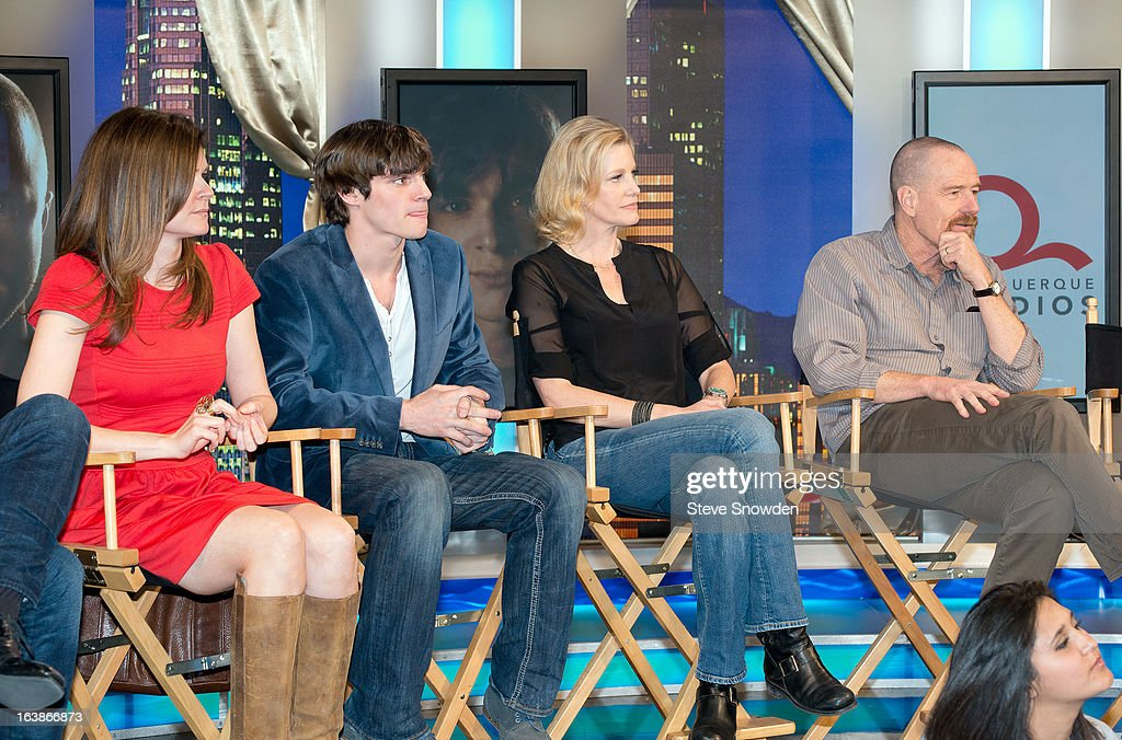 Actors Betsy Brandt, RJ Mitte, Anna Gunn, and Bryan Cranston listen to the speakers during the ABQ Studios And Youth Development Inc. Honor The Cast Of 'Breaking Bad' on at Albuquerque Studios on March 16, 2013 in Albuquerque, New Mexico.