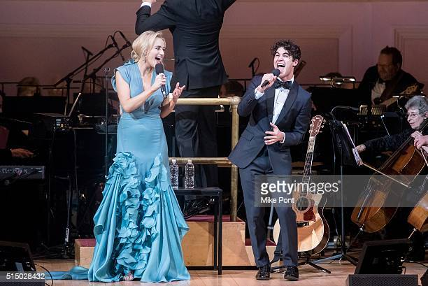 Actors Betsy Wolfe and Darren Criss perform during The New York Pops Darren Criss and Betsy Wolfe in Concert at Carnegie Hall on March 11 2016 in New...