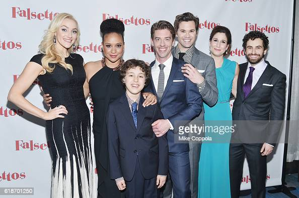Actors Betsy Wolfe Tracie Thoms Anthony Rosenthal Christian Borle Andrew Rannells Stephanie J Block and Brandon Uranowitz attends 'Falsettos' Opening...