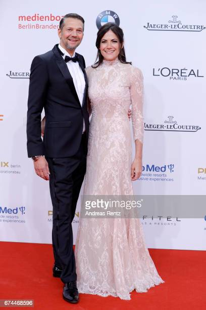 Actors Bettina Zimmermann and Kai Wiesinger attend the Lola German Film Award red carpet at Messe Berlin on April 28 2017 in Berlin Germany