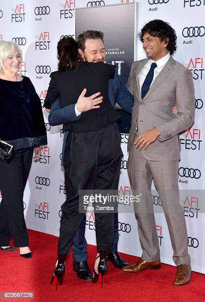 Actors Betty Buckley Anya TaylorJoy and James McAvoy and director/writer/producer M Night Shyamalan attend the premiere of 'Split' at AFI Fest 2016...