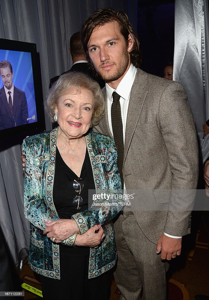 Actors <a gi-track='captionPersonalityLinkClicked' href=/galleries/search?phrase=Betty+White&family=editorial&specificpeople=213602 ng-click='$event.stopPropagation()'>Betty White</a> and <a gi-track='captionPersonalityLinkClicked' href=/galleries/search?phrase=Alex+Pettyfer&family=editorial&specificpeople=750856 ng-click='$event.stopPropagation()'>Alex Pettyfer</a> attend the 24th Annual GLAAD Media Awards at JW Marriott Los Angeles at L.A. LIVE on April 20, 2013 in Los Angeles, California.
