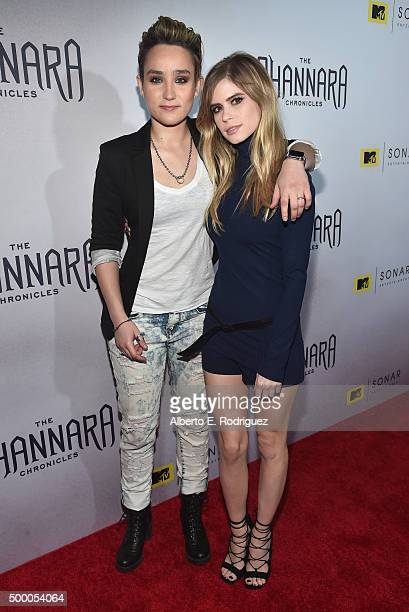 Actors Bex TaylorKlaus and Carlson Young attend the premiere of MTV and Sonar Entertainment's 'The Shannara Chronicles' at iPic Theaters on December...