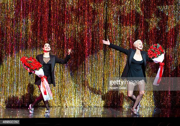 Actors Bianca Marroquin and AmraFaye Wright perform at the 7486th performance of 'Chicago' the second longest running Broadway show of all time at...