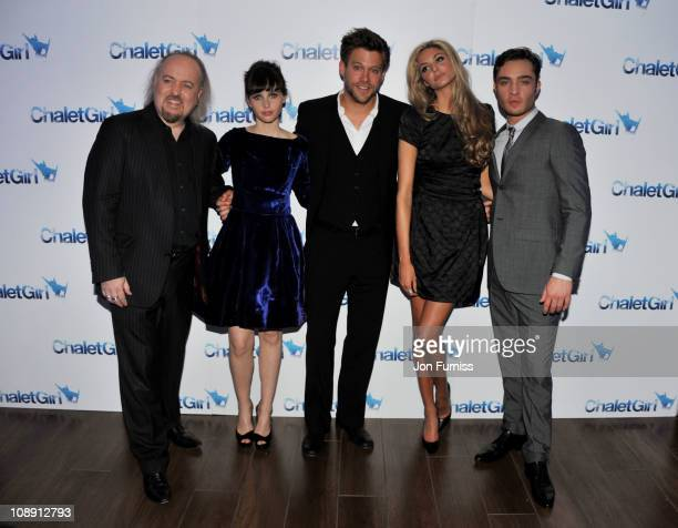 Actors Bill Bailey Felicity Jones Ken Duken Tamsin Egerton and Ed Westwick attend the world premiere of 'Chalet Girl' at Vue Westfield on February 8...