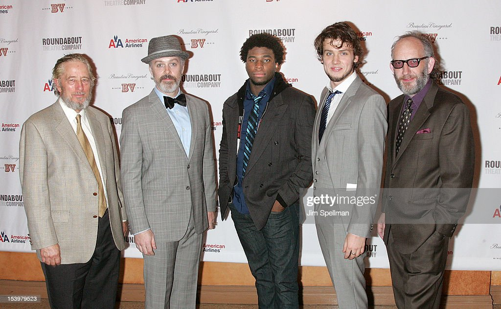 Actors Bill Buell, Tim McGeever, Okieriete Onaodowan, Jack Cutmore- Scott and Max Baker attends 'Cyrano De Bergerac' Broadway Opening Night After Party at American Airlines Theatre on October 11, 2012 in New York City.