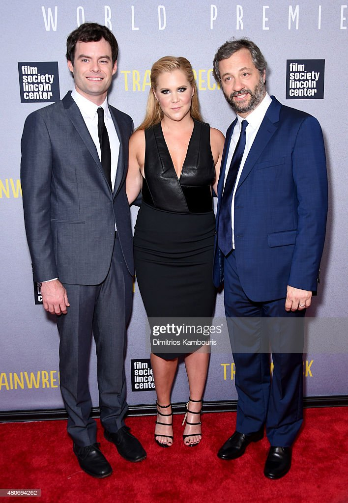 Actors Bill Hader and Amy Schumer with director Judd Apatow attend the 'Trainwreck' New York Premiere at Alice Tully Hall on July 14 2015 in New York...