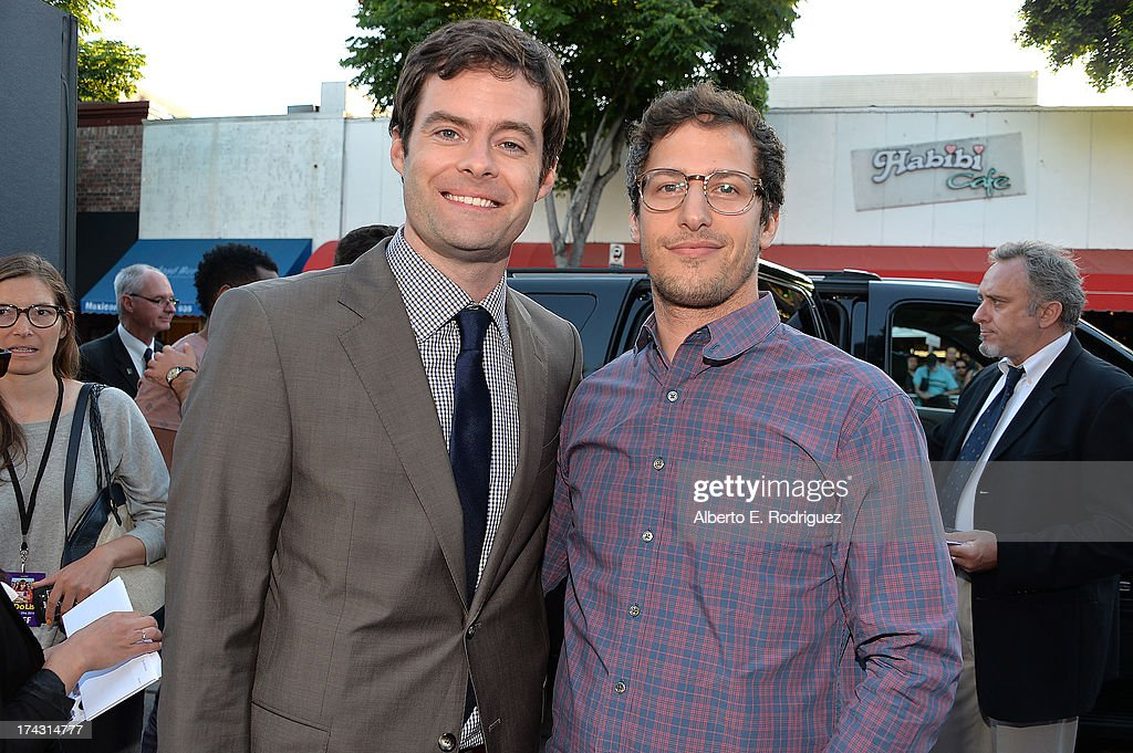 Actors Bill Hader (L) and Andy Samberg attend the premiere of CBS Films' 'The To Do List' on July 23, 2013 in Westwood, California.