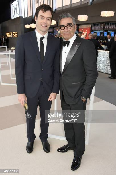 Actors Bill Hader and Eugene Levy attend the 2017 Vanity Fair Oscar Party hosted by Graydon Carter at Wallis Annenberg Center for the Performing Arts...
