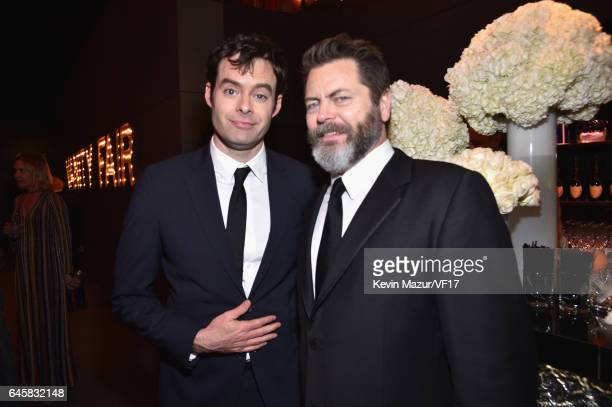 Actors Bill Hader and Nick Offerman attend the 2017 Vanity Fair Oscar Party hosted by Graydon Carter at Wallis Annenberg Center for the Performing...