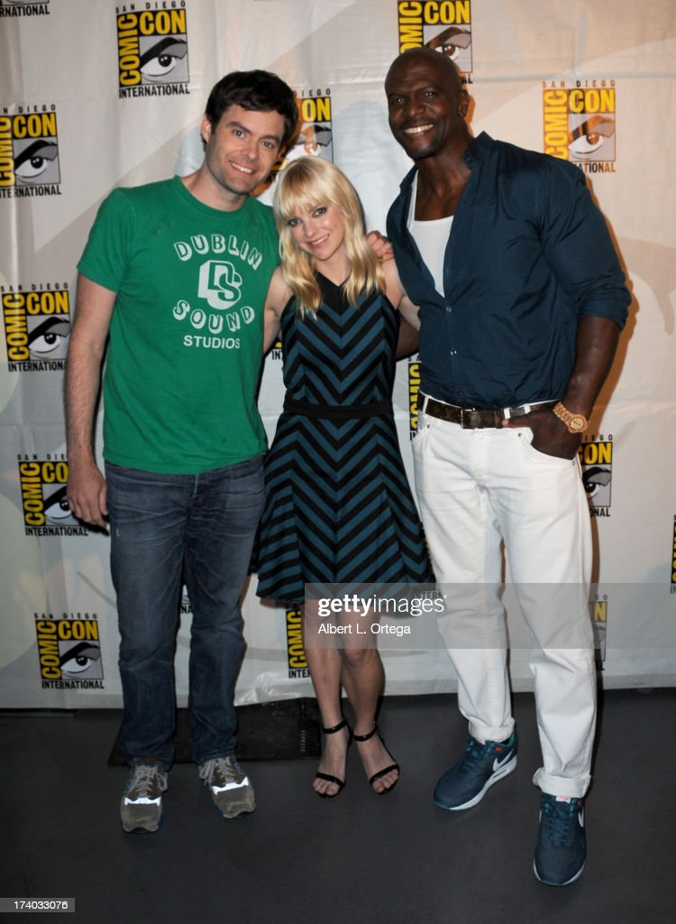 Actors Bill Hader, Anna Faris and Terry Crewes during Comic-Con International at San Diego Convention Center on July 19, 2013 in San Diego, California.
