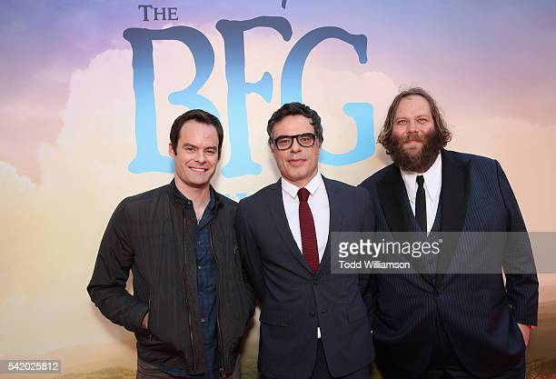 Actors Bill Hader Jemaine Clement and Olafur Darri Olafsson attend Disney's 'The BFG' premiere at the El Capitan Theatre on June 21 2016 in Hollywood...
