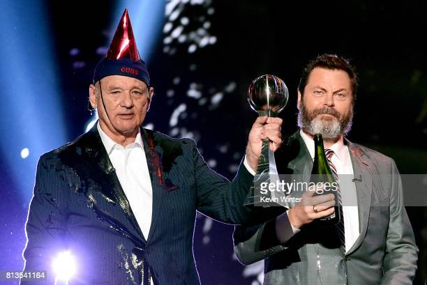 Actors Bill Murray and Nick Offerman accept the Best Moment award on behalf of the 2016 World Series champion Chicago Cubs onstage at The 2017 ESPYS...