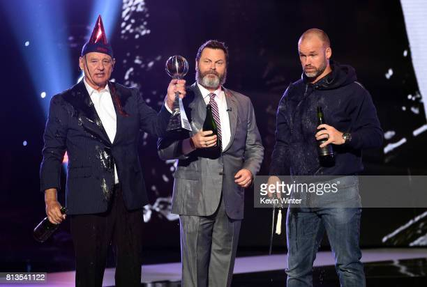 Actors Bill Murray and Nick Offerman and MLB player David Ross accept the Best Moment award on behalf of the 2016 World Series champion Chicago Cubs...