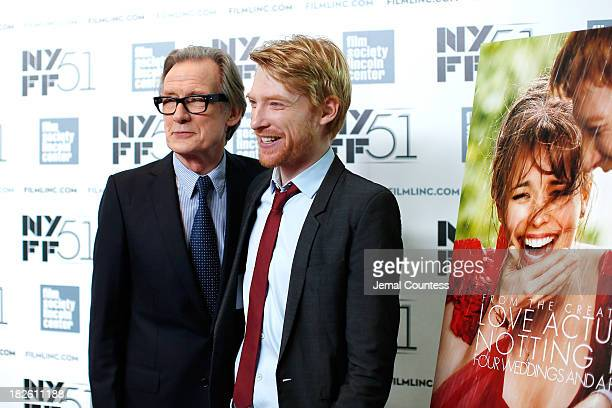 Actors Bill Nighy and Domhnall Gleeson attend the 'About Time' premiere during the 51st New York Film Festival at Alice Tully Hall at Lincoln Center...