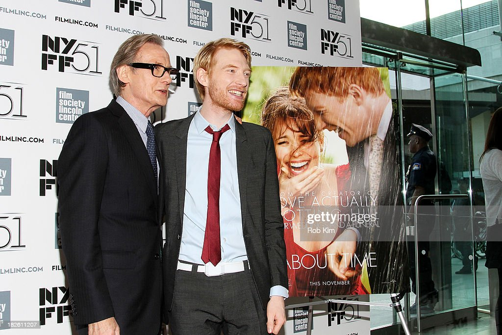 Actors <a gi-track='captionPersonalityLinkClicked' href=/galleries/search?phrase=Bill+Nighy&family=editorial&specificpeople=201599 ng-click='$event.stopPropagation()'>Bill Nighy</a> (L) and <a gi-track='captionPersonalityLinkClicked' href=/galleries/search?phrase=Domhnall+Gleeson&family=editorial&specificpeople=653261 ng-click='$event.stopPropagation()'>Domhnall Gleeson</a> attend the 'About Time' premiere during the 51st New York Film Festival at Alice Tully Hall at Lincoln Center on October 1, 2013 in New York City.