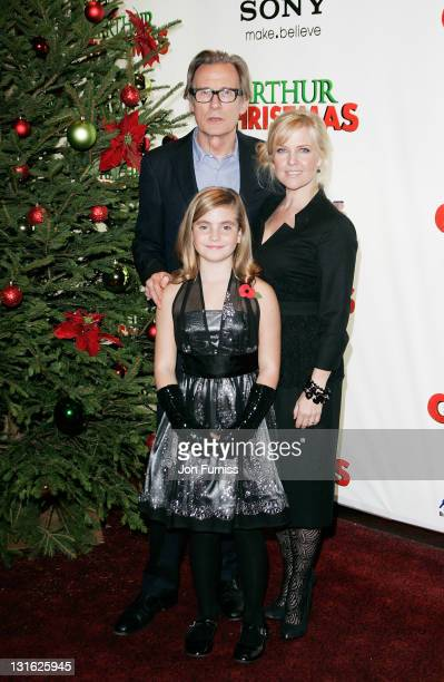 Actors Bill Nighy Romona Marquez and Ashley Jensen attend the UK premiere of 'Arthur Christmas' at Empire Leicester Square on November 6 2011 in...