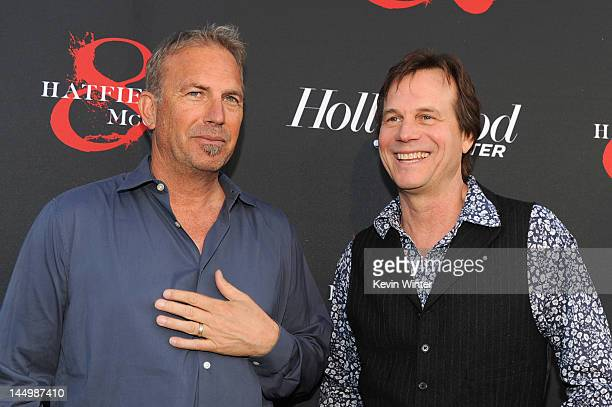 Actors Bill Paxton and Kevin Costner arrive at The Hollywood Reporter The History Channel Screening Of 'Hatfields McCoys' at Milk Studios on May 21...