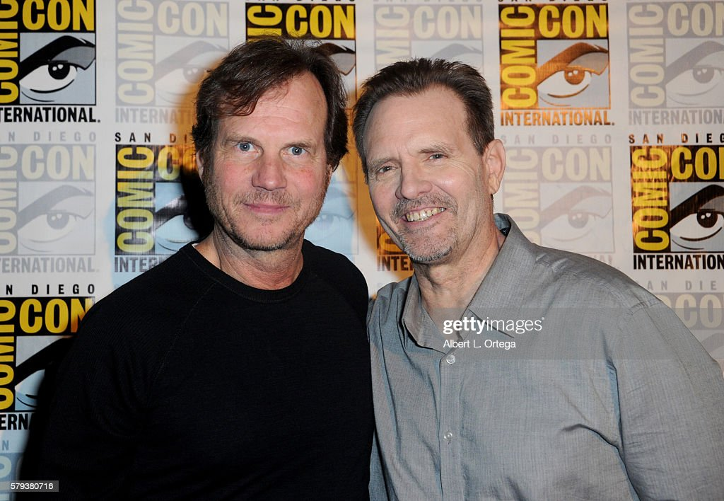 Actors Bill Paxton (L) and Michael Biehn attend the 'Aliens: 30th Anniversary' panel during Comic-Con International 2016 at San Diego Convention Center on July 23, 2016 in San Diego, California.