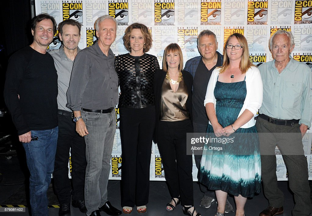 Actors Bill Paxton and Michael Biehn, director James Cameron, actress Sigourney Weaver, producer Gale Anne Hurd, actors Paul Reiser, Carrie Henn and Lance Henriksen attend the 'Aliens: 30th Anniversary' panel during Comic-Con International 2016 at San Diego Convention Center on July 23, 2016 in San Diego, California.
