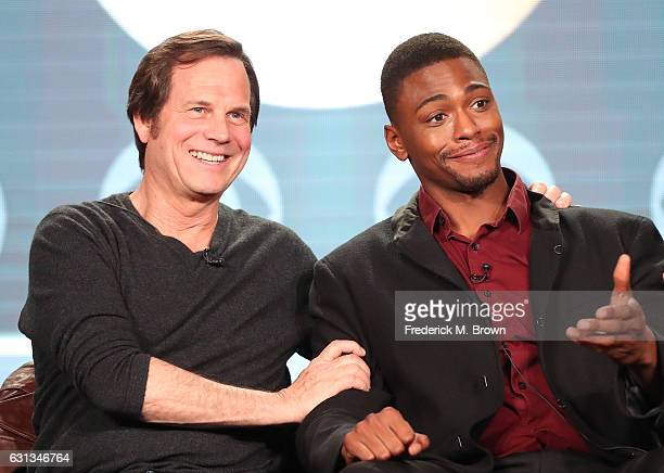 Actors Bill Paxton left and Justin Cornwell of the television show 'Training Day' speak onstage during the CBS portion of the 2017 Winter Television...