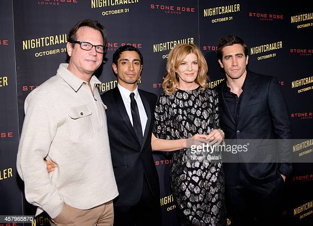 Actors Bill Paxton Riz Ahmed Rene Russo and Jake Gyllenhaal attend the 'Nightcrawler' New York Premiere at AMC Lincoln Square Theater on October 27...
