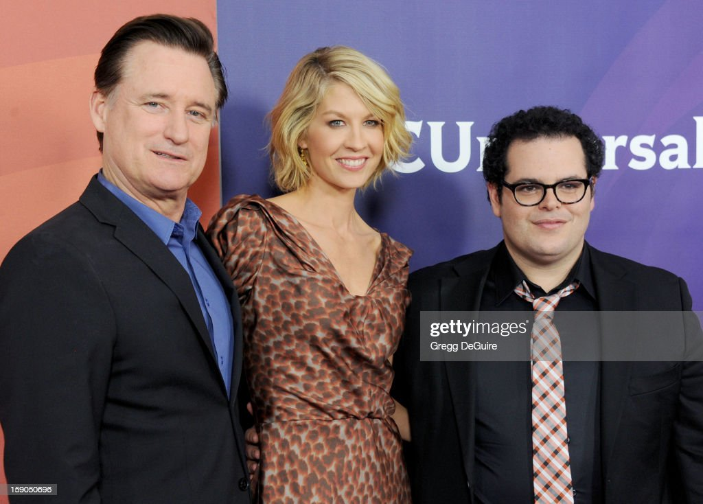 Actors Bill Pullman, Jenna Elfman and executive producer Josh Gad pose at the 2013 NBC Universal TCA Winter Press Tour Day 1 at The Langham Huntington Hotel and Spa on January 6, 2013 in Pasadena, California.