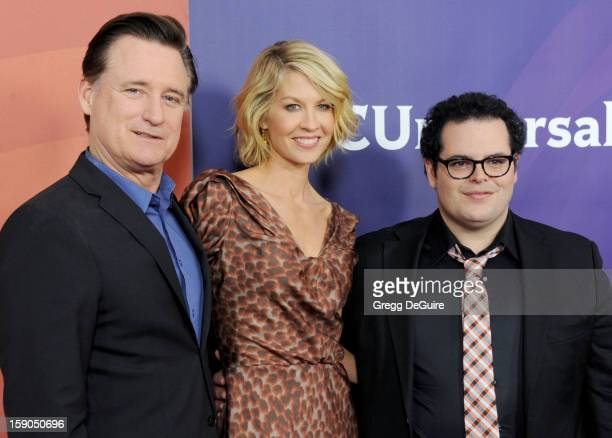 Actors Bill Pullman Jenna Elfman and executive producer Josh Gad pose at the 2013 NBC Universal TCA Winter Press Tour Day 1 at The Langham Huntington...