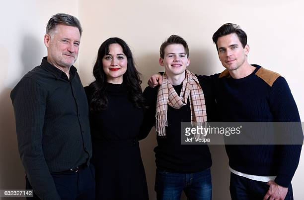 Actors Bill Pullman Lily Gladstone Josh Wiggins and Matt Bomer from the film 'Walking Out' pose for a portrait in the WireImage Portrait Studio...