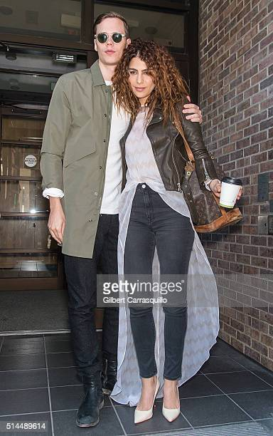 Actors Bill Skarsgard and Nadia Hilker visit Fox 29's 'Good Day' at FOX 29 Studio to promote The Divergent Series Allegiant on March 9 2016 in...
