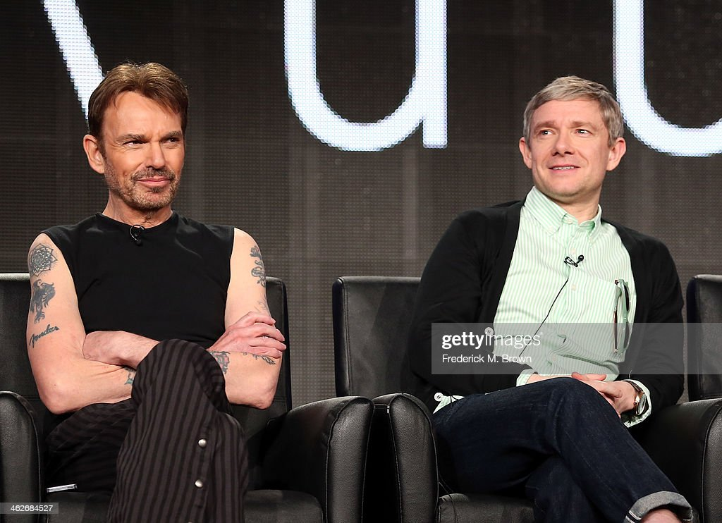 Actors Billy Bob Thornton and Martin Freeman of the television show 'Fargo' speak onstage during the FX portion of the 2014 Television Critics Association Press Tour at the Langham Hotel on January 14, 2014 in Pasadena, California.