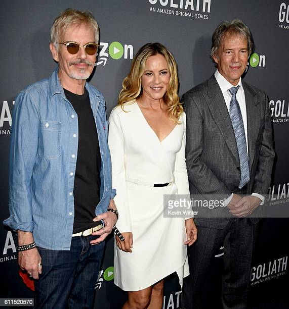 Actors Billy Bob Thornton Maria Bello and writer/executive producer David E Kelley arrive at the premiere screening of Amazon's 'Goliath' at The...