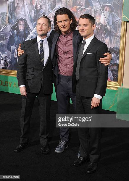 Actors Billy Boyd Orlando Bloom= and Elijah Wood arrive at the Los Angeles premiere of 'The Hobbit The Battle Of The Five Armies' at Dolby Theatre on...