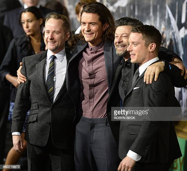 Actors Billy Boyd Orlando Bloom Andy Serkis and Elijah Wood attend the Los Angeles premiere of 'The Hobbit The Battle of the Five Armies' at the...