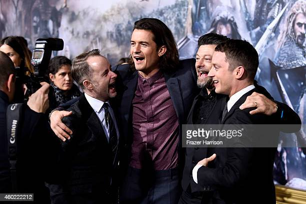 Actors Billy Boyd Orlando Bloom Andy Serkis and Elijah Wood attend the premiere of New Line Cinema MGM Pictures And Warner Bros Pictures' 'The Hobbit...