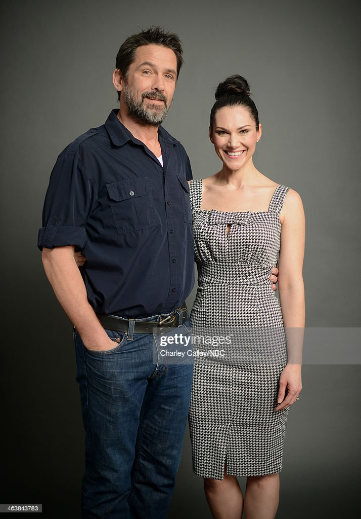 Actors Billy Campbell (L) and Kyra Zagorsky attend the 2014 NBCUniversal TCA Winter Press Tour Portraits at Langham Hotel on January 19, 2014 in Pasadena, California.