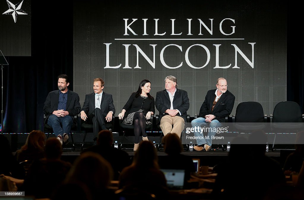 Actors Billy Campbell, Jesse Johnson, Geraldine Hughes, Graham Beckel, and Writer/Producer Erik Jendresen speak onstage during the 'Killing Lincoln' panel discussion at the National Geographic Channels portion of the 2013 Winter TCA Tour - Day 1 at Langham Hotel on January 4, 2013 in Pasadena, California.