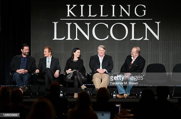 Actors Billy Campbell Jesse Johnson Geraldine Hughes Graham Beckel and Writer/Producer Erik Jendresen speak onstage during the 'Killing Lincoln'...