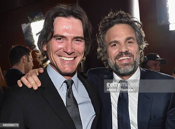 Actors Billy Crudup and Mark Ruffalo attend a special screening of Open Road Films' 'Spotlight' at The DGA Theater on November 3 2015 in Los Angeles...