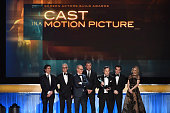 Actors Billy Crudup John Slattery Michael Keaton Liev Schreiber Mark Ruffalo Brian d'Arcy James and Rachel McAdams accept the Cast in a Motion...