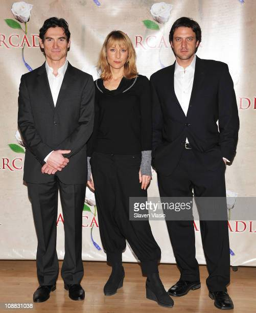 Actors Billy Crudup Lia Williams and Raul Esparza attend Broadway's 'Arcadia' cast photocall at the 890 Rehearsal Studios on February 4 2011 in New...