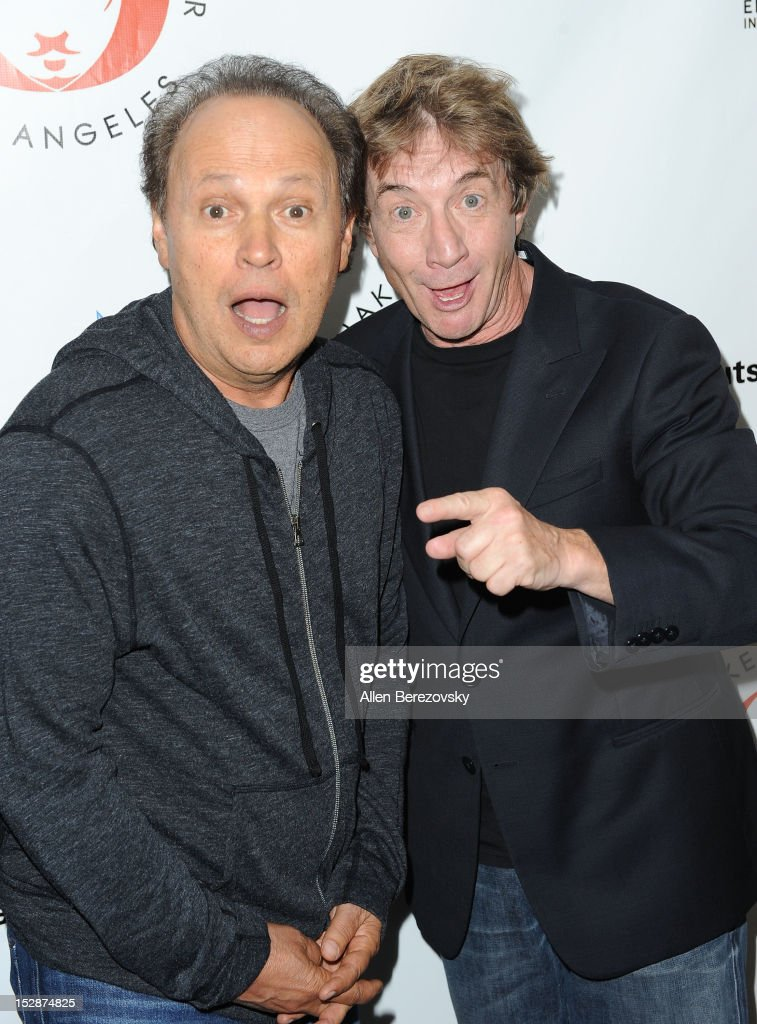 Actors Billy Crystal (L) and Martin Short attend the Shakespeare Center of Los Angeles' 22nd annual 'Simply Shakespeare' reading of 'A Midsummer Night's Dream' at Freud Playhouse, UCLA on September 27, 2012 in Westwood, California.