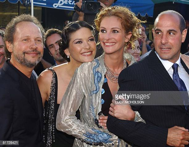 US actors Billy Crystal Julia Roberts Stanley Tucci and Welsh actress Catherine ZetaJones pose at the premiere of their new film 'America's...