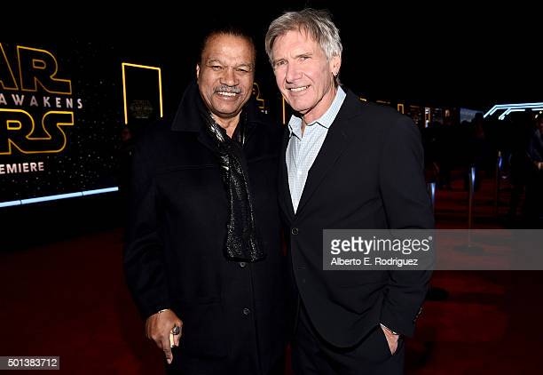 "Actors Billy Dee Williams and Harrison Ford attend the World Premiere of ""Star Wars The Force Awakens"" at the Dolby El Capitan and TCL Theatres on..."