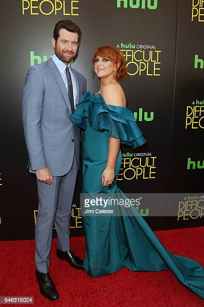 Actors Billy Eichner and Julie Klausner attends the Hulu Original 'Difficult People' premiere at The Metrograph on July 11 2016 in New York City